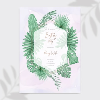 Happy birthday party invitation card with tropical leaves frame