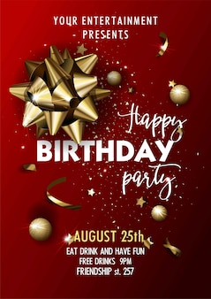 Happy birthday party invitation vector poster template