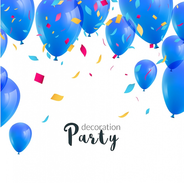 Happy birthday party invitation with colorful balloons and confetti