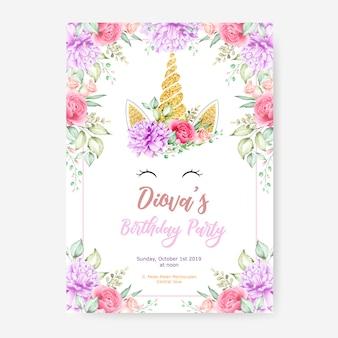 かわいいユニコーングラフィックと花のフレームとの幸せな誕生日パーティーポスターテンプレート