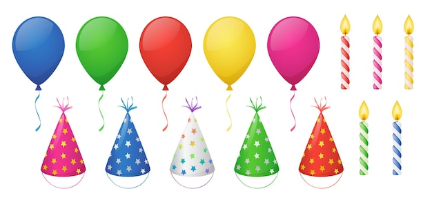 Happy birthday party set with color balloons, cone hats and cake candles. vector cartoon objects for festive decoration. inflatable air balloons, spiral wax sticks and party caps