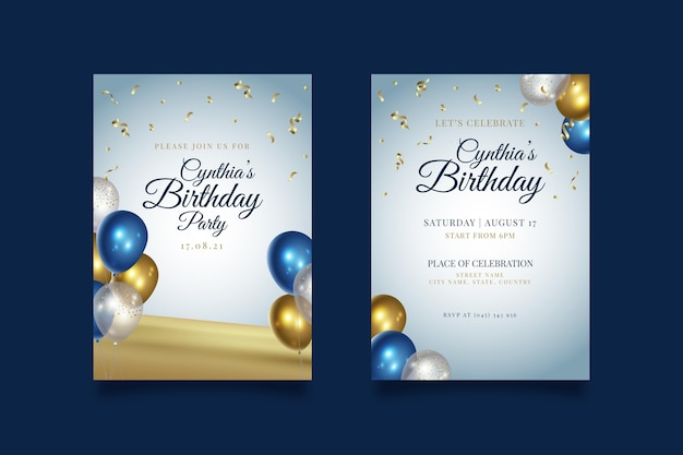 Happy birthday party with balloons invitation