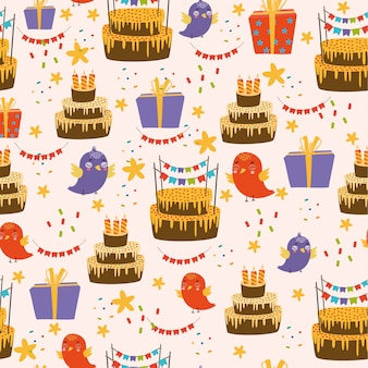 Happy birthday pattern with birds and cake