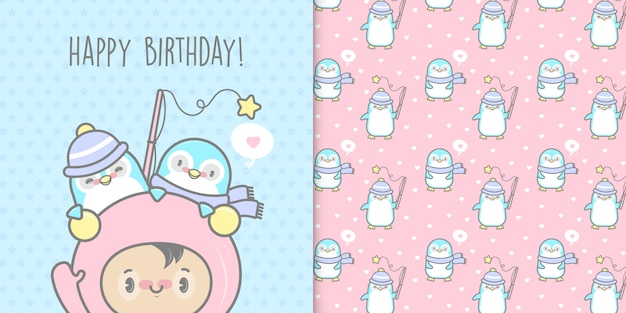 Happy birthday penguins card and seamless pattern