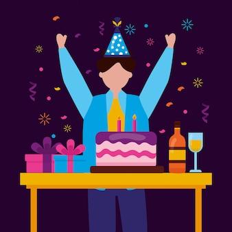 Buon compleanno persone in stile piatto