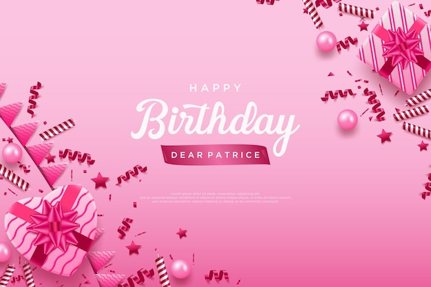 Happy birthday on a pink background with festive cheer