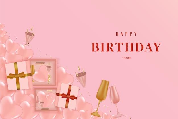 Happy birthday on pink