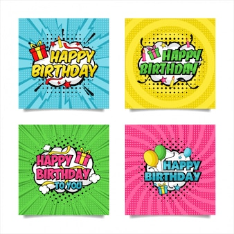 Happy birthday pop art style collection