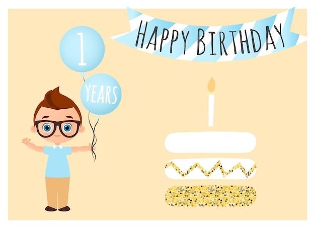 お誕生日おめでとうはがき。ポスター、バナー、カード、招待状、チラシの誕生日おめでとうの背景。少年はおめでとうとボールを持っています。ベクトルイラストeps10。フラット漫画スタイル