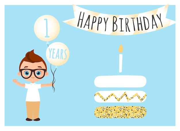 생일 축하 엽서입니다. 포스터, 배너, 카드, 초대장, 전단지에 대한 생일 축하 배경. 어린 소년은 축하와 함께 공을 보유하고 있습니다. 벡터 일러스트 레이 션 eps 10입니다. 플랫 만화 스타일입니다.