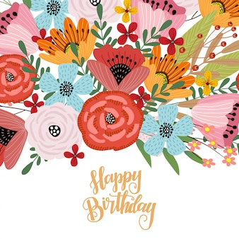Incredible Happy Birthday Postcard Template With Cute Hand Drawing Bright Personalised Birthday Cards Veneteletsinfo