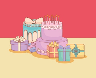 Happy birthday postcard with cake and gifts