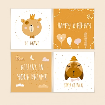 Happy birthday postcards with cute animals