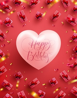 Happy birthday poster or banner with big heart and sweet gift on red background