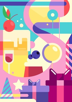 フラットスタイルのお誕生日おめでとうポスター。抽象的な休日のはがきのデザイン。