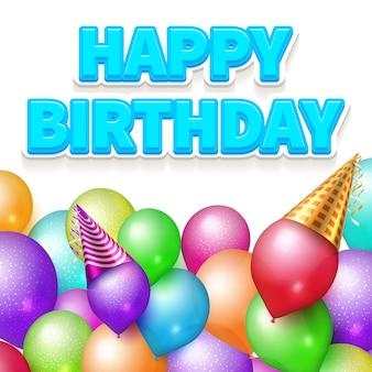 Happy birthday poster realistic balloons illustration