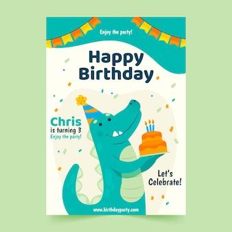 Шаблон плаката с днем рождения с динозавром