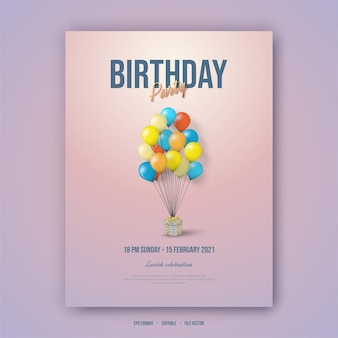 Happy birthday poster with colorful balloons.