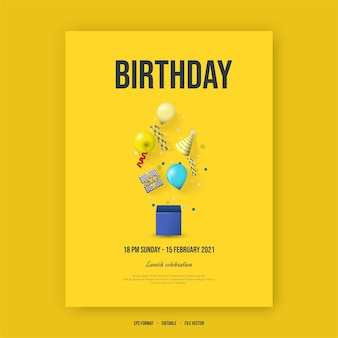 С днем рождения плакат с иллюстрацией воздушных шаров, подарочной коробки и шляпы на день рождения.