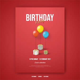 Happy birthday poster with three gift boxes and  balloons.