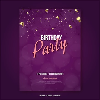 Happy birthday poster with writing on bokeh background.
