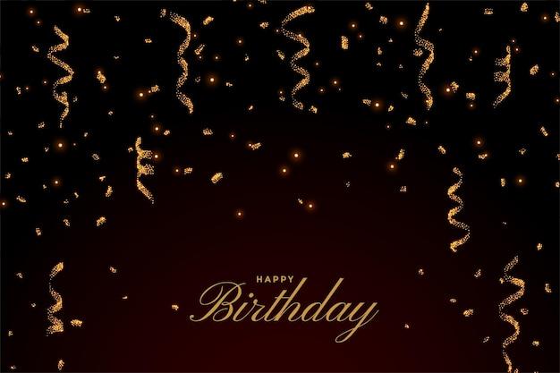 Happy birthday premium card with golden falling confetti
