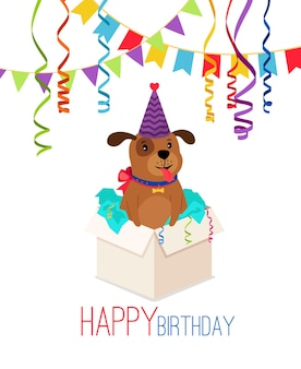 Happy birthday puppy in box. birthday card with puppy dog pack gift vector illustration