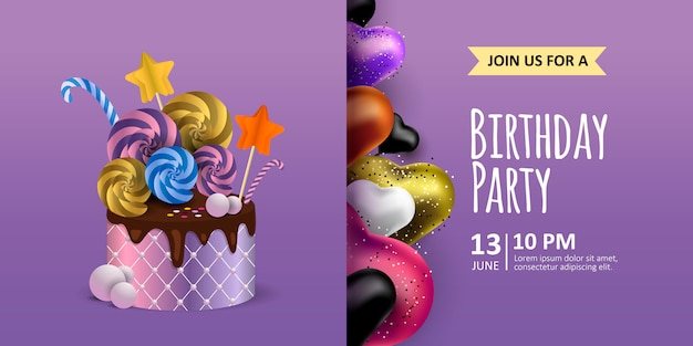 Happy birthday purple background