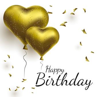Happy birthday realistic gold air balloons