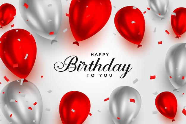 Sfondo di palloncini lucido rosso e bianco di buon compleanno