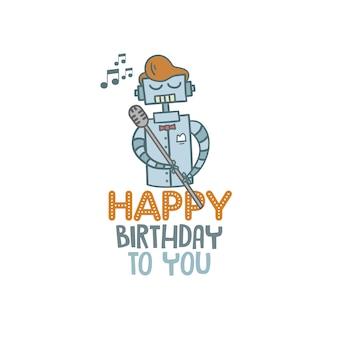Happy birthday robot background