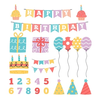 Happy birthday scrapbook set with balloons