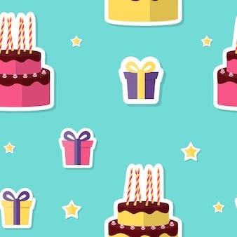 お誕生日おめでとうケーキとギフトボックスとシームレスなパターンの背景。ベクトルイラストeps10