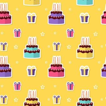 お誕生日おめでとうケーキとギフトボックスとシームレスなパターンの背景。ベクトルイラスト
