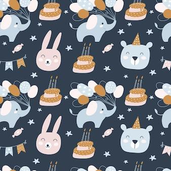 お誕生日おめでとうシームレスパターン。誕生日のクリームケーキ、動物。子供のための休日。