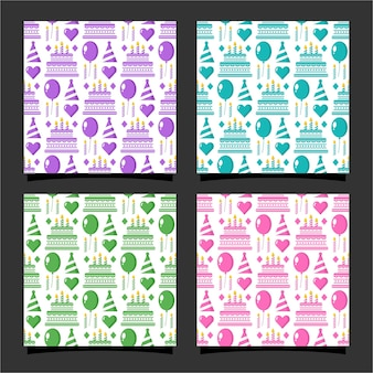 Happy birthday seamless pattern collection