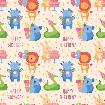Happy birthday seamless pattern cute animal lion rhino koala rabbit snake present box balloon