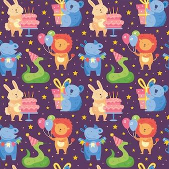 Happy birthday seamless pattern cute animal lion rhino koala rabbit snake