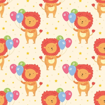 Happy birthday seamless pattern cute animal lion with balloons holiday decoration celebration