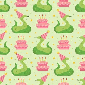 Happy birthday seamless pattern cute animal snake in holiday hat jungle reptile decoration cake