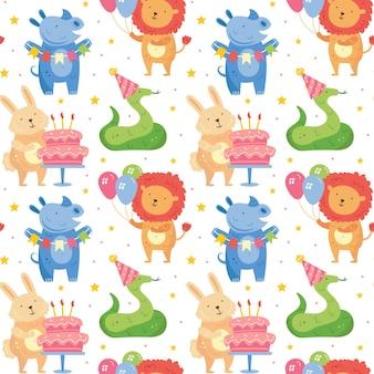 Happy birthday seamless pattern cute animals celebrating together rabbit rhino snake lion