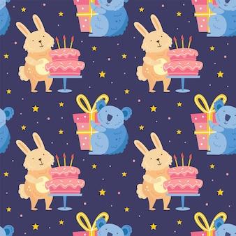 Happy birthday seamless pattern cute animals celebrating together seamless pattern