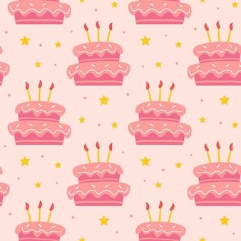 Happy birthday seamless pattern cute tasty sweet cake with candles holiday decoration