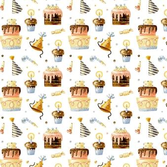 ケーキ、カップケーキ、バースデーキャップとお誕生日おめでとうシームレスパターン