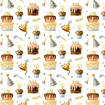 Happy birthday seamless pattern with cakes, cupcakes and birthday caps