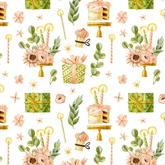 Happy birthday seamless pattern with cakes, flowers and gifts