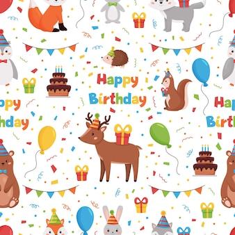 森の動物鹿、ウサギ、クマ、フクロウ、キツネ、オオカミとお誕生日おめでとうシームレスパターン。