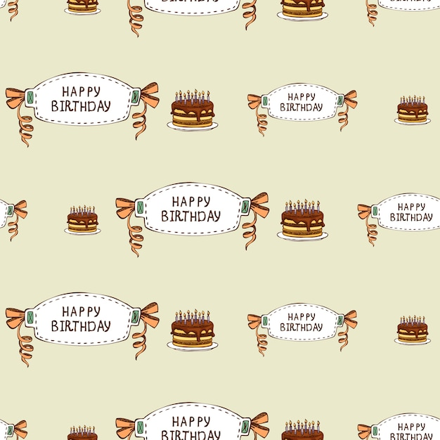 Happy birthday seamless pattern