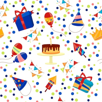 С днем рождения бесшовные шаблон