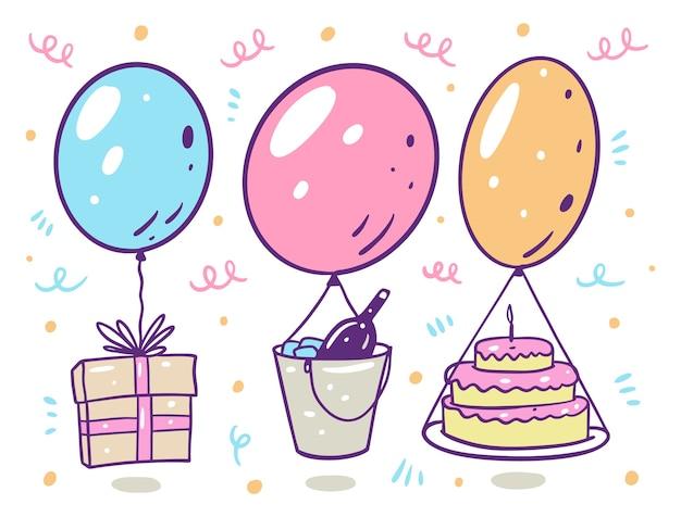 お誕生日おめでとうセット。ギフトボックス、シャンパン、ケーキ付きの風船。漫画のスタイルで。白い背景で隔離。